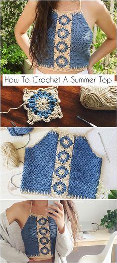 How to work a summer top - Crochetopedia to . - How to work a summer top – Crochetopedia work La mejor image - Crochet Summer Tops, Crochet Halter Tops, Crochet Crop Top, Crochet Blouse, Cute Crochet, Crochet Bikini, Crochet Skirts, Summer Knitting, Crotchet