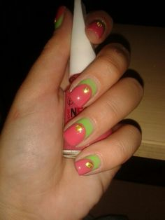 Neon pink & green with gold studs