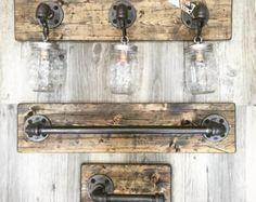 Rustic/Industrial/Modern Wood Handmade 1 Mason Jar by Lulight