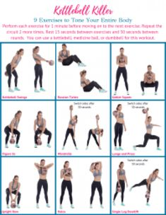 Try this 9 exercise killer kettlebell workout designed to get your heart rate up and tone your entire body using a mix of cardio and strength moves. Kettlebell Abs, Kettlebell Training, Kettlebell Benefits, Kettlebell Challenge, Full Body Kettlebell Workout, Body Workout At Home, At Home Workouts, Fat Burning Workout, Yoga