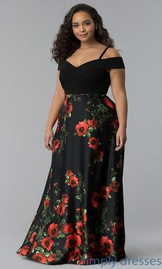 Plus-Size Long Prom Dress with Print Skirt Shop long plus-size prom dresses with floral-print skirts Plus Size Dress Outfits, Plus Prom Dresses, Plus Size Long Dresses, Formal Evening Dresses, Trendy Dresses, Fashion Dresses, Evening Dresses Plus Size, Dress Prom, Dress Wedding