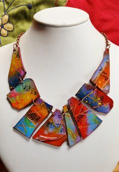 """https://flic.kr/p/ERRFhb   """"Music on the wall... in Sienna"""", polymer clay necklace   carved and decorated by hand www.etsy.com/listing/285885515/polymer-clay-music-on-the-..."""