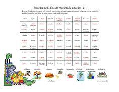 Spanish Sudoku! Thanksgiving, El Dia de Accion de Gracias 2!!
