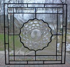 PLATE PLACED IN STAINED GLASS