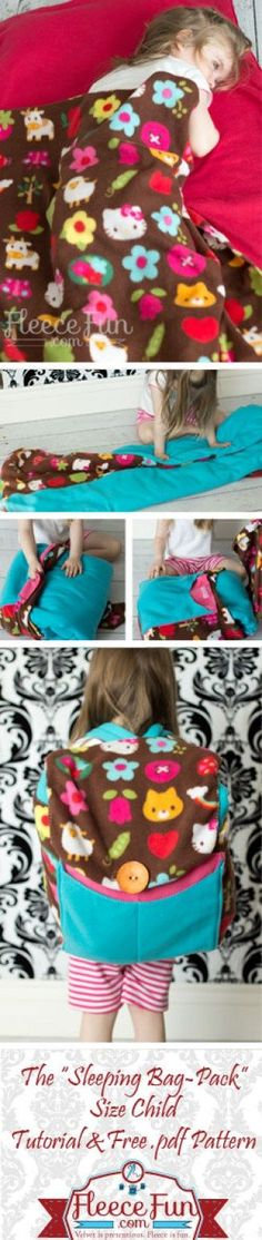 How to Sew a Child's Sleeping Bag / Backpack + Free Pattern