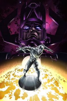 Galactus and Silver Surfer by Mike Deodato Jr Colors by Árison Aguiar Comics Spiderman, Marvel Comics Art, Marvel Fan, Captain Marvel, Mike Deodato, Comic Book Characters, Marvel Characters, Comic Character, Marvel Villains