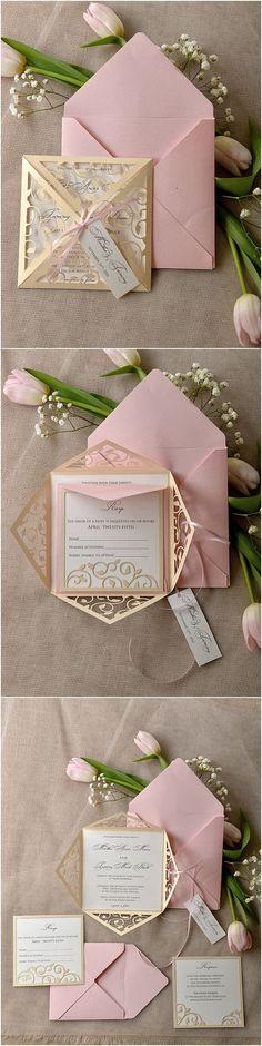 Vintage Patel Pink Blush Gold Laser Cut Wedding Invitation: