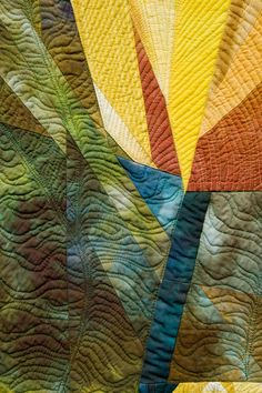 close up of pieced flower quilt: Cabin Fever by Carolyn T Abbott