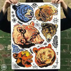 'Bear Head' Print - Artwork by Luke Dixon Bear Tattoos, Bear Head, Head S, Tattoo Set, Friend Tattoos, Limited Edition Prints, Artwork Prints, Giclee Print, 1st Year