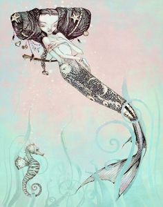 Sleeping Mermaid Print Nautical Seahorse Fantasy by theFiligree