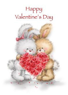 Two cute rabbits holding heart shaped bouquet ,Happy Valentine's Day card , Happy Valentine Day Quotes, Valentines Day Party, Valentine Day Cards, Valentine Crafts, Valentine Day Love, Teddy Beer, Happy Wishes, Valentines Day Background, Valentine's Day Quotes