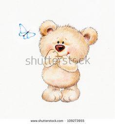 Cute Teddy bear and butterfly