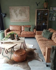 60 modern bohemian living room inspiration ideas 60 ~ Design And Decoration Living Room Green, Home Living Room, Colours For Living Room, Interior Design Living Room, Living Room Designs, Interior Livingroom, Kitchen Interior, Home Yoga Room, Brown Sofa