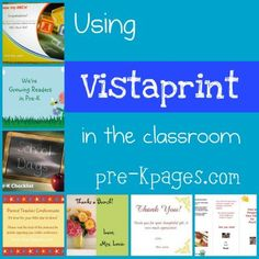Lots of ideas for using the free products at Vistaprint.com in the classroom to enhance parent communication via   www.pre-kpages.com/vista_print/