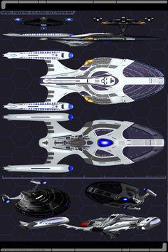 Ark Royal Class Schematics by JamieTakahashi.deviantart.com on @DeviantArt Star Trek Online, Star Trek Starships, Star Trek Enterprise, Concept Ships, Concept Art, Star Trek Legacy, Aliens, Nave Star Wars, Science Fiction