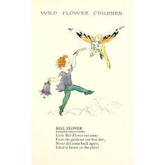 Wild Flower Children c1918 Bell Flower Canvas Art - Janet Laura Scott (18 x 24)
