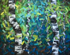 """Inside Peace"" 60""x48"" MELISSA MCKINNON Contemporary Abstract Landscape Artist features BIG COLOURFUL PAINTINGS of Aspen & Birch Trees, Rocky Mountains and stunning views of the Canadian prairies. Large painting of spring trees - blue, green, aqua and yellow aspen and birch trees."