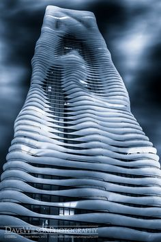 Aqua Building at Night, Chicago by DaveWilsonPhotography, via Flickr
