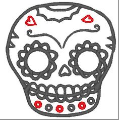 Sugar Skull Machine Embroidery File Instant Download by LaurasCraftedCrochet #etsy #machineembroidery #embroidery #desgin #file #instantdownload #sugarskull #diadelosmuertos #dayofthedead #mexicanskull #skull #sugar
