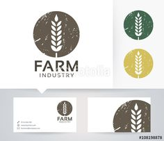 Vector: Farm Industry vector logo with alternative colors and business card template