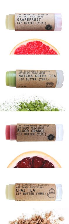 All Natural Lip Butter - Grapefruit, Matcha Green Tea, Blood Orange and Chai Tea Flavors