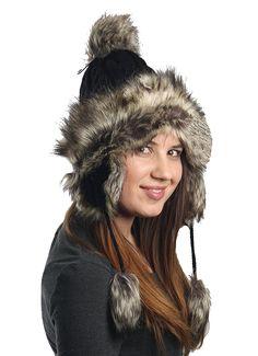 aba59a851b389 Earflap Furry Cable Knit Trooper Trapper PomPom Ski Snow Hat - Black -  CG11QPCSP1P  Hats