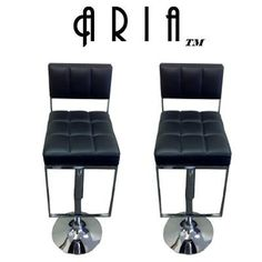 "Amazon.com: Aria Modern Adjustable ""Leather"" Bar Stool (Set of 2) - White: Furniture & Decor"