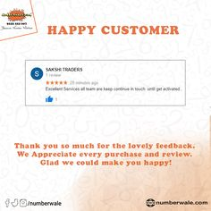 #CustomerReview #HappyCustomer💯  #Numberwale #BecauseNumberMatters #VIPNumbers #PremiumNumbers #CloudTelephony #IVR #VirtualReceptionist #SMS #BulkSMS #SMSService Fancy Numbers, Virtual Receptionist, All Team, Thank You So Much, Are You Happy, Vip, Make It Yourself