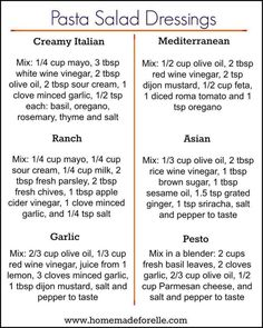 You don't have to get bored with the same ol… 6 Pasta Salad Dressing Recipes. You don't have to get bored with the same old mayo-based pasta dressing, try these 6 homemade variations to mix it up! Easy Pasta Salad, Pasta Salad Recipes, Sauce Recipes, Cooking Recipes, Dishes Recipes, Beef Recipes, Chicken Recipes, Cooking Pork, Cooking Ingredients