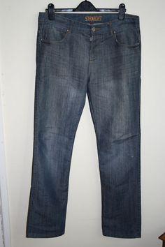 DNM Spec 892 Jeans Mens Denim Fashion Style Designer Dark Navy Blue Size 34W 34L