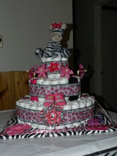 Zebra Diaper Cake I made for a friend's baby shower Zebra Diaper Cakes, Baby Cakes, Baby Shower Cakes, Baby Shower Gifts, Zebra Stuff, Arts And Crafts, Diy Crafts, Teas, Baby Things