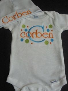 Personalized Newborn Onesie and Hat Set by browniesnbutterflies, $22.99