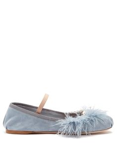 MIU MIU Crystal and pearl-embellished suede ballet flats. #miumiu #shoes #flats