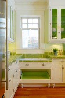 Built-in Dog bed in a colorful cute kitchen