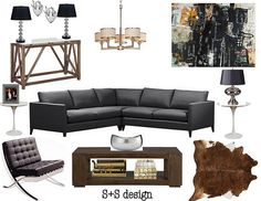 S+S Design: Bachelor Pad-Living Room