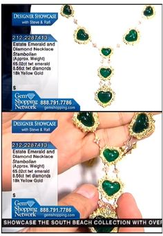 Estate emerald necklace - 65 carats of stunning transparent natural emeralds set in diamond and 18k yellow gold. WOW! #emeralds #emeraldnecklace