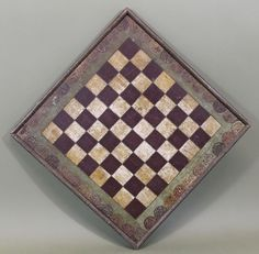 Antique Circa-1900, American Folk Art Hand Painted Wood Checker Game Board #NaivePrimitive