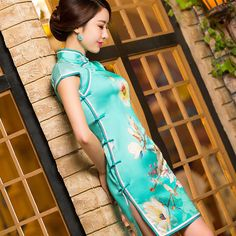 qipao ribbon print dress https://www.ichinesedress.com/