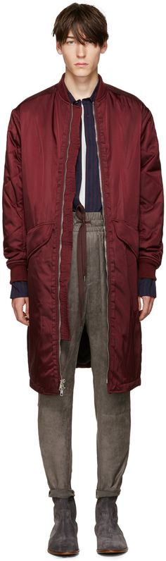 long sleeve nylon bomber jacket in burgundy. Long oversized fit. Rib knit stand…