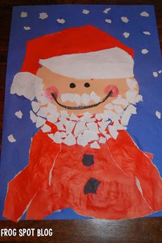 Frog Spot: Torn Paper Santa - Zero Prep Art for Kids Christmas Art Projects, Christmas Arts And Crafts, Santa Crafts, Preschool Christmas, Noel Christmas, Christmas Activities, Christmas Themes, Kids Crafts, Classroom Crafts