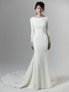 Aston by Maggie Sottero, Crepe Long Sleeve Wedding Dress with beaded detail and keyhole back, simple wedding dress with sleeves Jessica Biel Wedding Dress, Plain Wedding Dress, Fairy Wedding Dress, Chic Wedding Dresses, How To Dress For A Wedding, Sheath Wedding Gown, Long Sleeve Wedding, Designer Wedding Dresses, Bridal Dresses