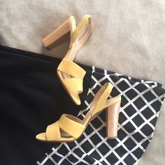 NWOB suede leather sling back heels Only tried on inside the house but never worn. Perfect to add that pop of color to your outfit! The heels are about 3 & 3/4 high Talbots Shoes Heels