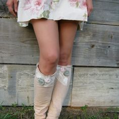 "made to order - Funky ""Bayou Boho"" Eco Lace and Rosette Leg Warmers"