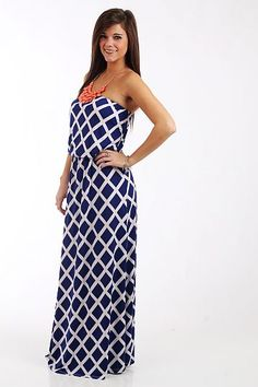 """The Lattice Maxi, Royal $42.00  This is a maxi you don't want to miss! The solid color with a white grid pattern over it is right on trend, but still simple enough to accessorize with your favorite statement necklace or scarf. Plus, we love the gathered waist and how the top blouses out! So flattering.   Fits true to size. Miranda is wearing a small.   From shoulder to hem:  Small - 51.5""""  Medium - 52""""  Large - 52.5"""""""