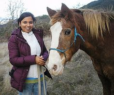 volunteer with rescued horse