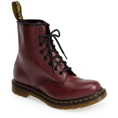 """Dr. Martens '1460 W' Boot, 1 1/4"""" heel (490 ILS) ❤ liked on Polyvore featuring shoes, boots, ankle booties, zapatos, botas, ankle boots, leather ankle boots, lace up bootie, lace up booties and platform ankle boots"""