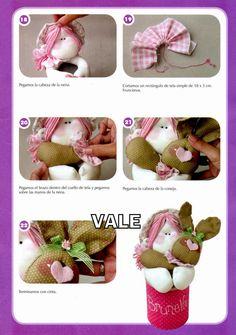 como hacer un muñeco conejo en tela