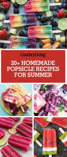 Kids Meals Cool off this summer by making one of these homemade popsicle recipes. - Nothing tastes better on a hot summer day than fresh-from-the-freezer homemade ice pops. Fruit Ice Pops, Fruit Popsicles, Homemade Popsicles, Homemade Ice, Homemade Chocolate, Homemade Breads, Homemade Sorbet, Homemade Smoothies, Ice Pop Recipes