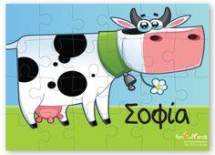 Παζλ Αγελάδα Personalized Puzzles, Pikachu, Snoopy, Fictional Characters, Art, Art Background, Kunst, Performing Arts, Fantasy Characters