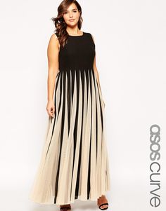 Image 1 of ASOS CURVE Maxi Dress in Stripe Mesh